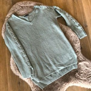 Dynamite Mint Green Knit Sweater w Lace Up Sleeves
